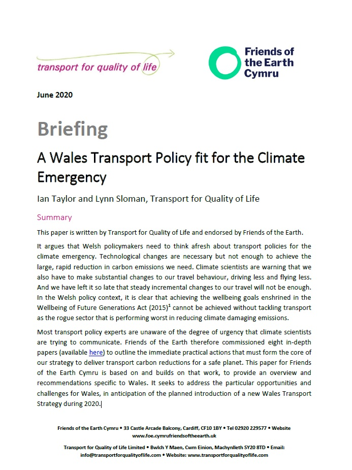 Wales Transport Policy fit for the Climate Emergency cover image